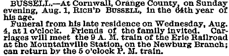 Richard Bussell - Obituary Aug 1880