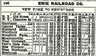 Erie Railroad - Old Timetable