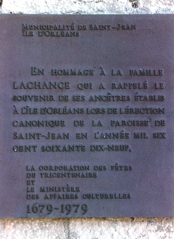 Memorial to the Lachance Family of Île d'Orléans